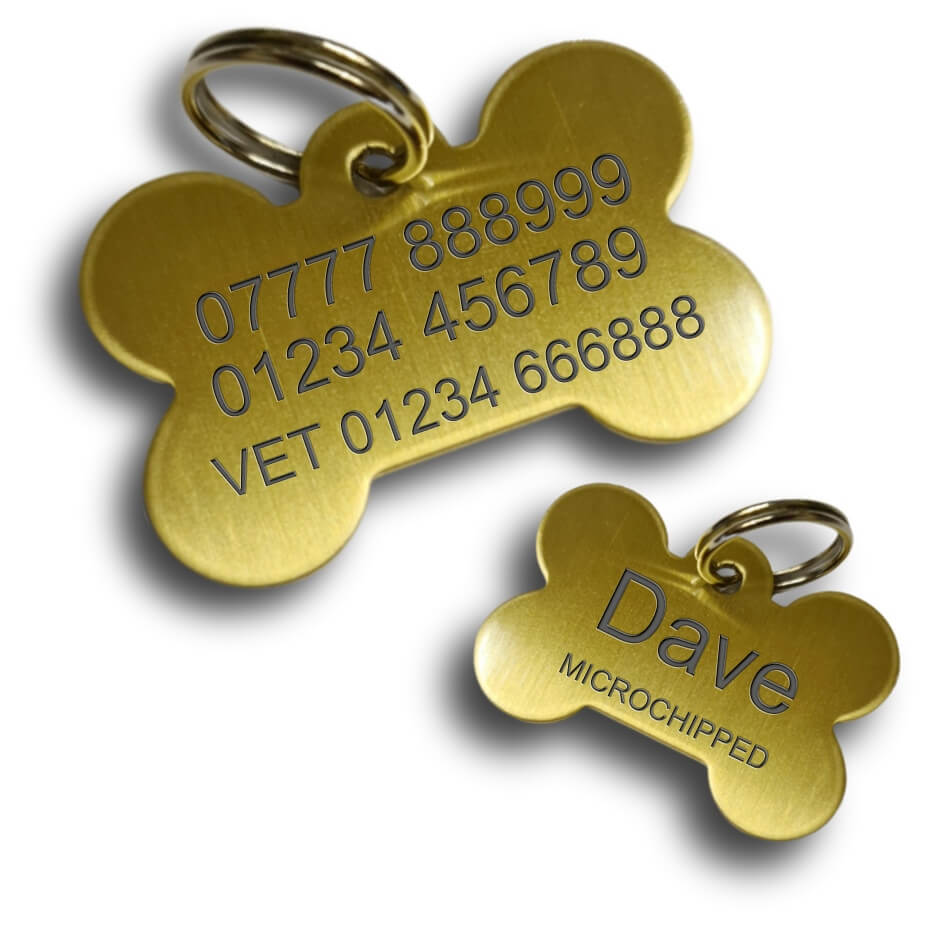 Brass Bone Dog Tag - Bone Shaped