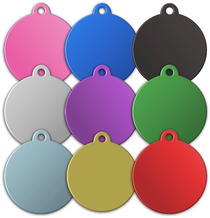 Aluminium Disc Shaped Pet Tags with tab- Premium