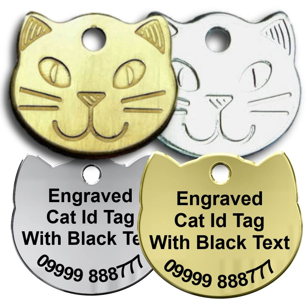Cat Collar Tag - Brass Silver Catface