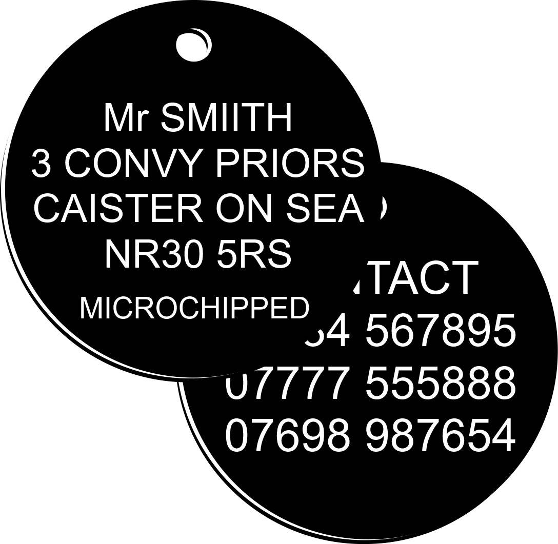 Plastic Pet id tags for Dogs and Cats