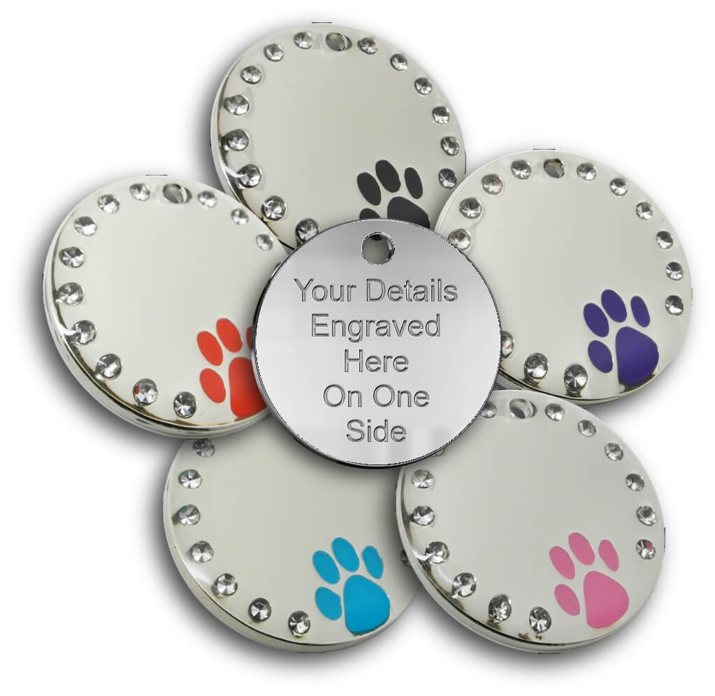 Diamante Dog Tag - Chrome Round Pet Tag