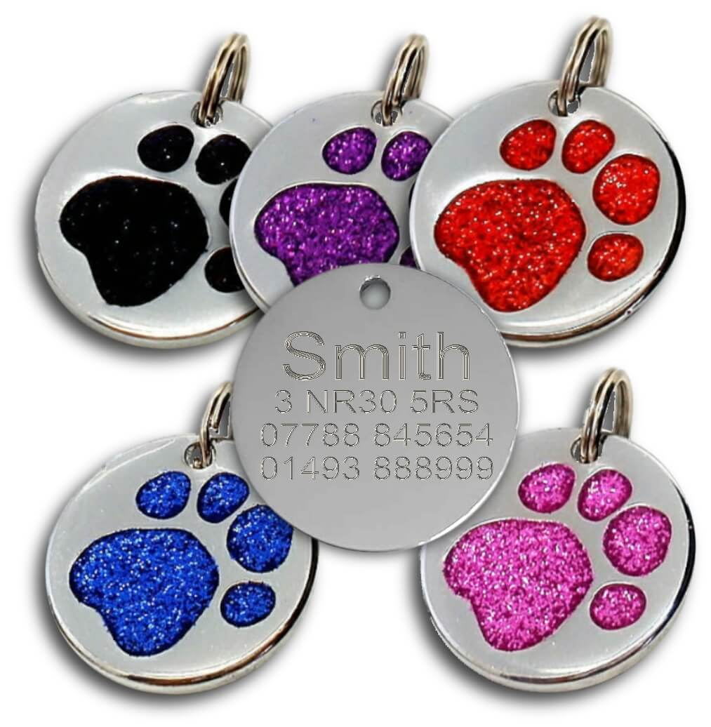 Glitter Pawprint Round Pet Tags - 24mm