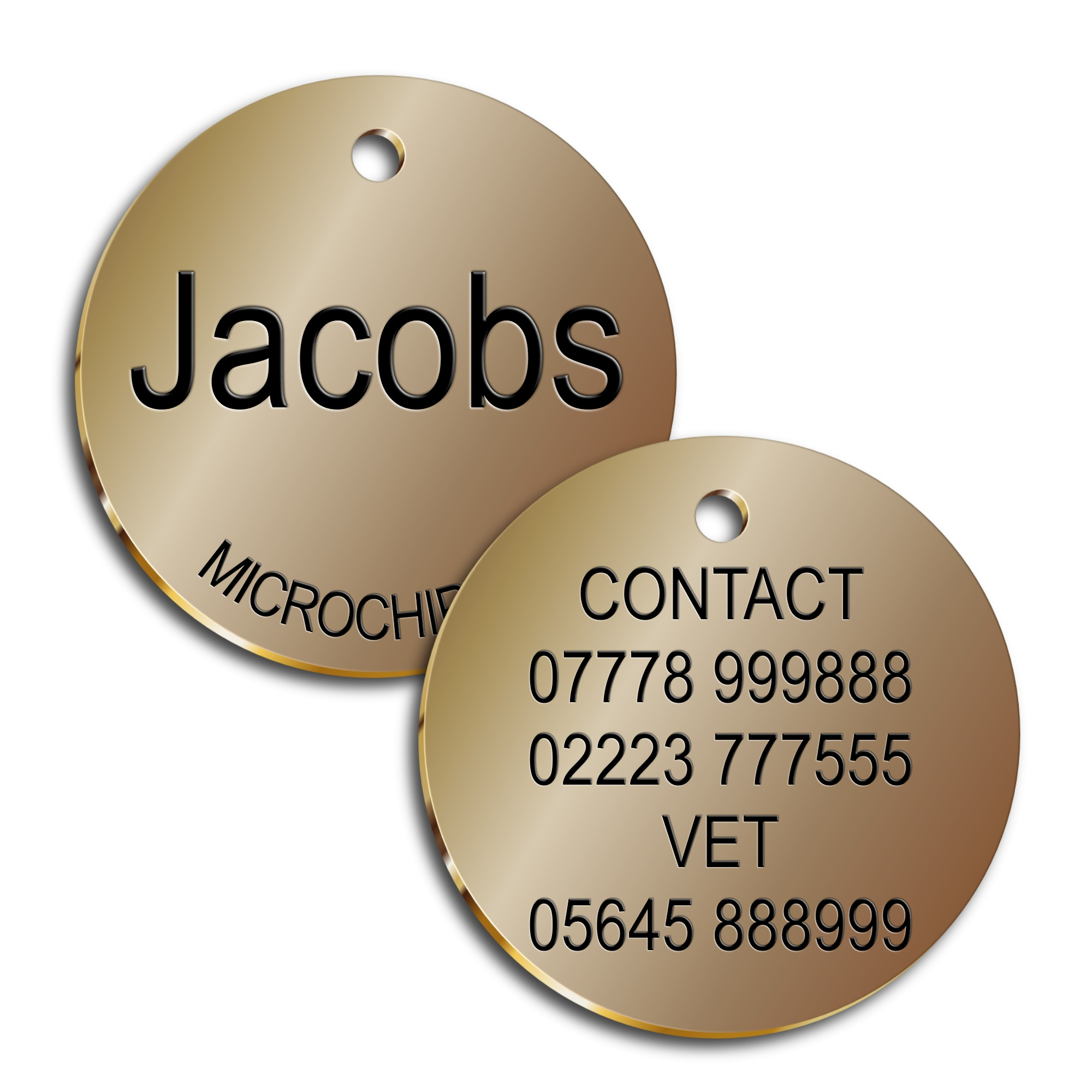 Brass Dog id Tag - 1.5MM Solid Brass Pet id Tag 30mm